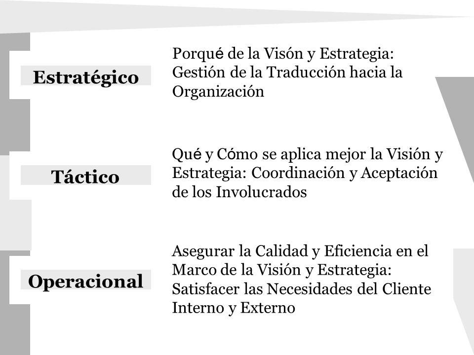 Qu é y C ó mo se aplica mejor la Visión y Estrategia: Coordinación y Aceptación de los Involucrados Operacional Estratégico Táctico Porqu é de la Visó