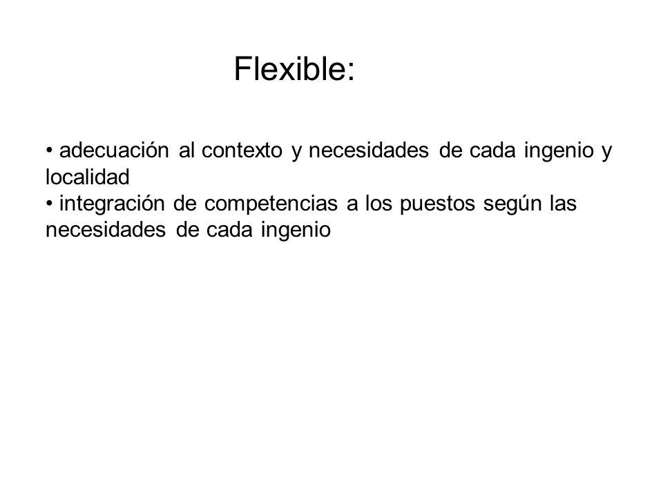 Flexible: adecuación al contexto y necesidades de cada ingenio y localidad integración de competencias a los puestos según las necesidades de cada ing