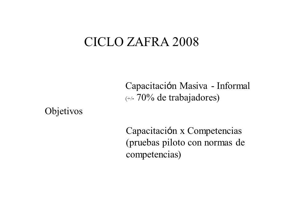 CICLO ZAFRA 2008 Objetivos Capacitaci ó n Masiva - Informal (+/- 70% de trabajadores) Capacitaci ó n x Competencias (pruebas piloto con normas de comp