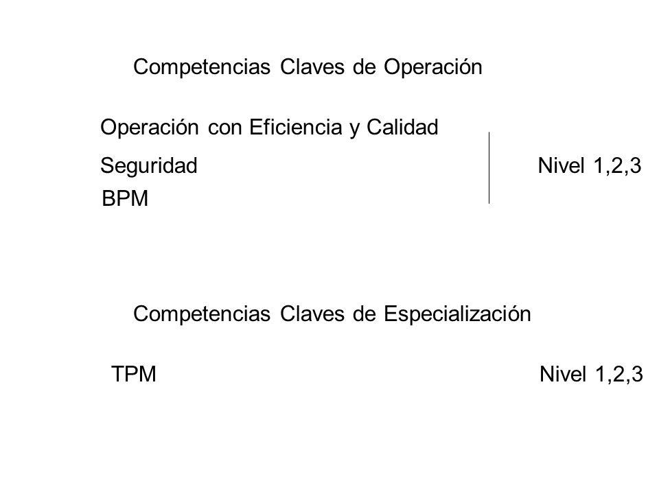 Competencias Claves de Operación Competencias Claves de Especialización Seguridad BPM Operación con Eficiencia y Calidad TPM Nivel 1,2,3
