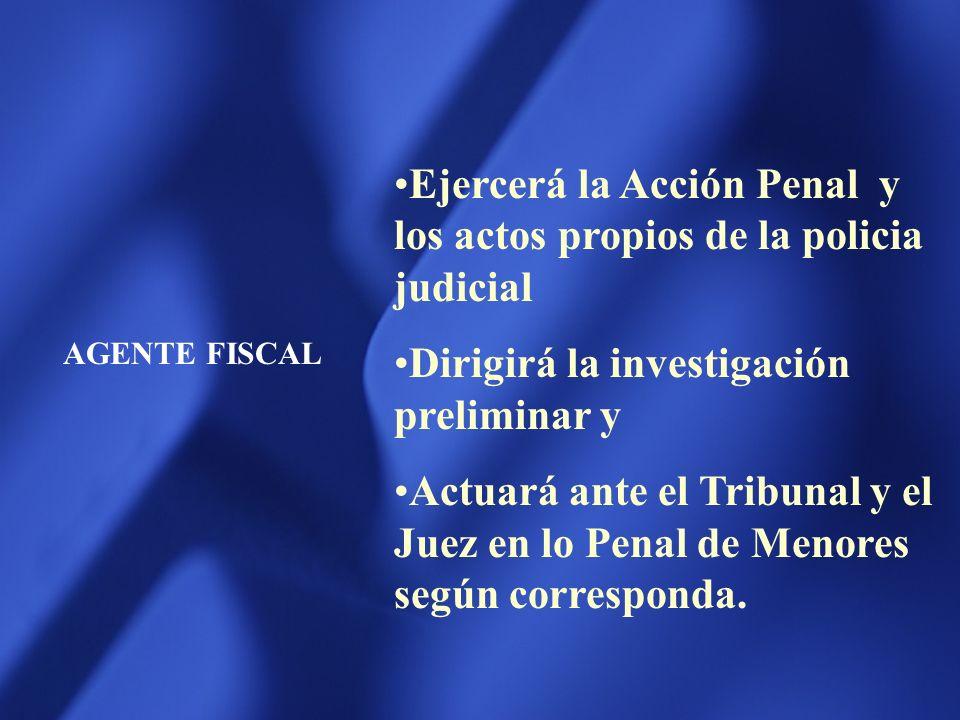 JUEZ EN LO PENAL DE MENORES Practicar las medidas que le correspondan durante la investigación del Agente Fiscal Proveer la audiencia preliminar Juzga