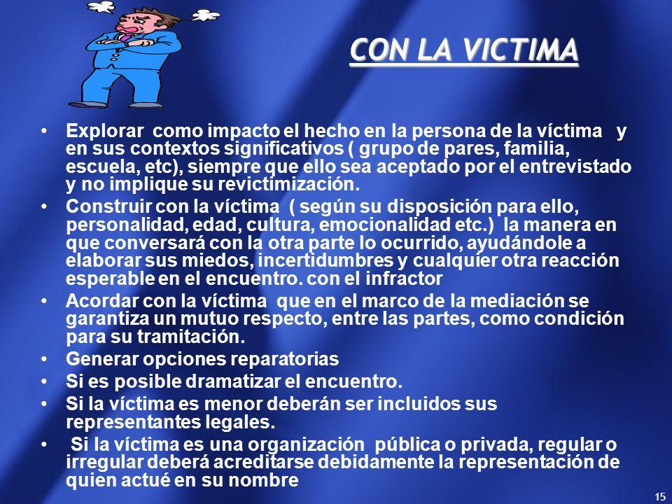 14 CON LA VICTIMA - La víctima tiene derecho en el ámbito penal a) A ser informada; b) A participar en el proceso, c) a una reparación económica d ) A