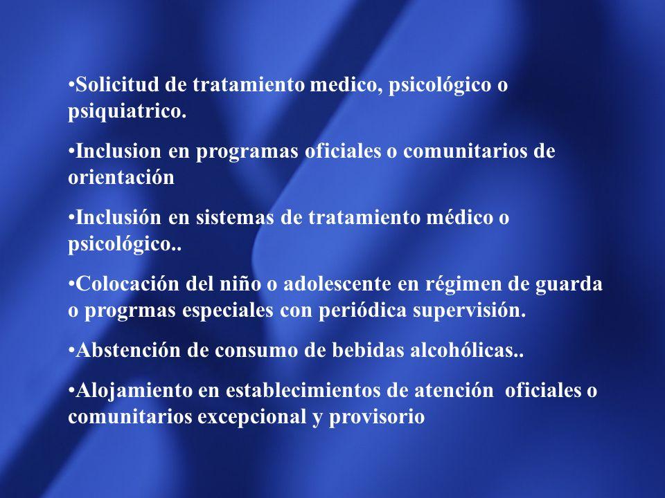 Conforme la Legislación Provincial e Internacional, (art. 179, 180, 182 y cc.ley 6.354 y C.I.) Las medidas a aplicar son entre otras : Orientación de