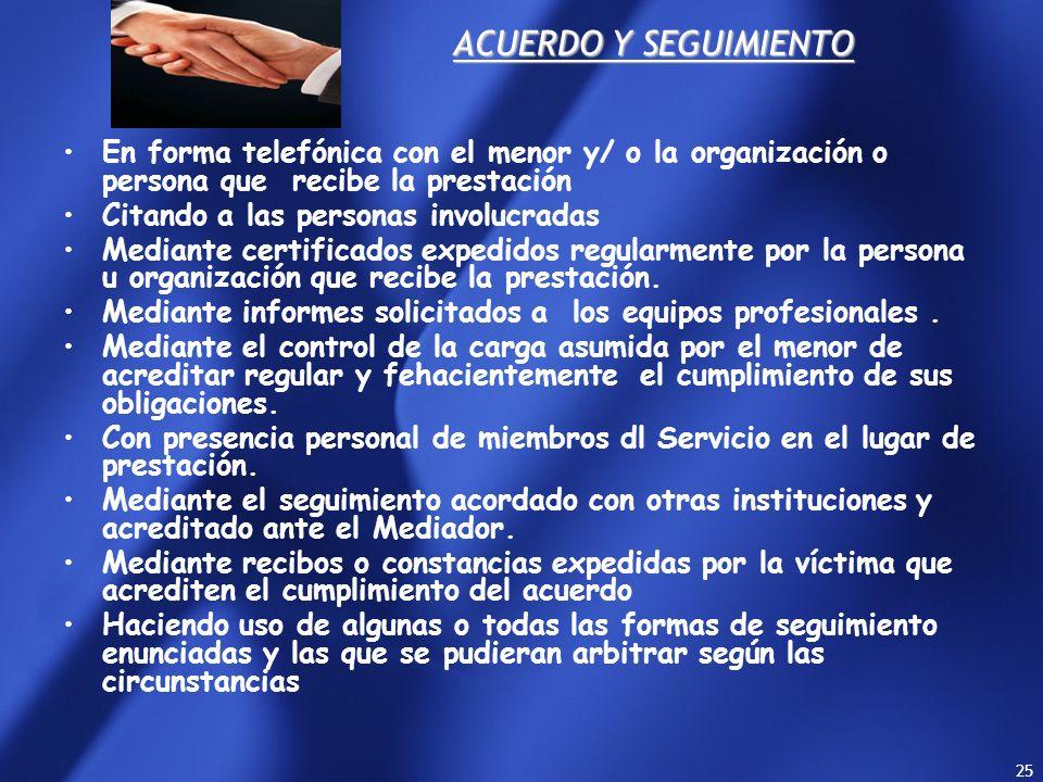 24 El mediador deberá elevar La Fiscal de la causa el acuerdo que contendrá expresamente los compromisos asumidos por las partes, con omisión de cualq