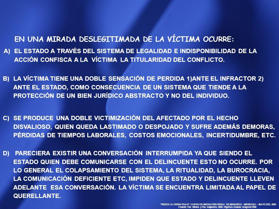 REDES ALTERNATIVAS. CURSO DE MEDIACIÓN PENAL DE MENORES – MENDOZA – MAYO DEL 2005 Fuente: Paz Silvina y Paz Alejandra 2000 Highton Alvarez Gregorio199