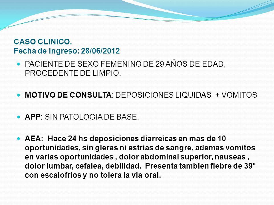CASO CLINICO. Fecha de ingreso: 28/06/2012 PACIENTE DE SEXO FEMENINO DE 29 AÑOS DE EDAD, PROCEDENTE DE LIMPIO. MOTIVO DE CONSULTA: DEPOSICIONES LIQUID