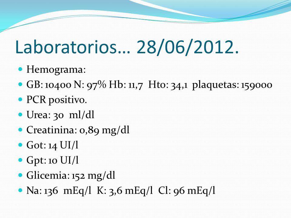 Orina simple: no patológica.Frotis de materia fecal: leucocitos 60-70 por campo.