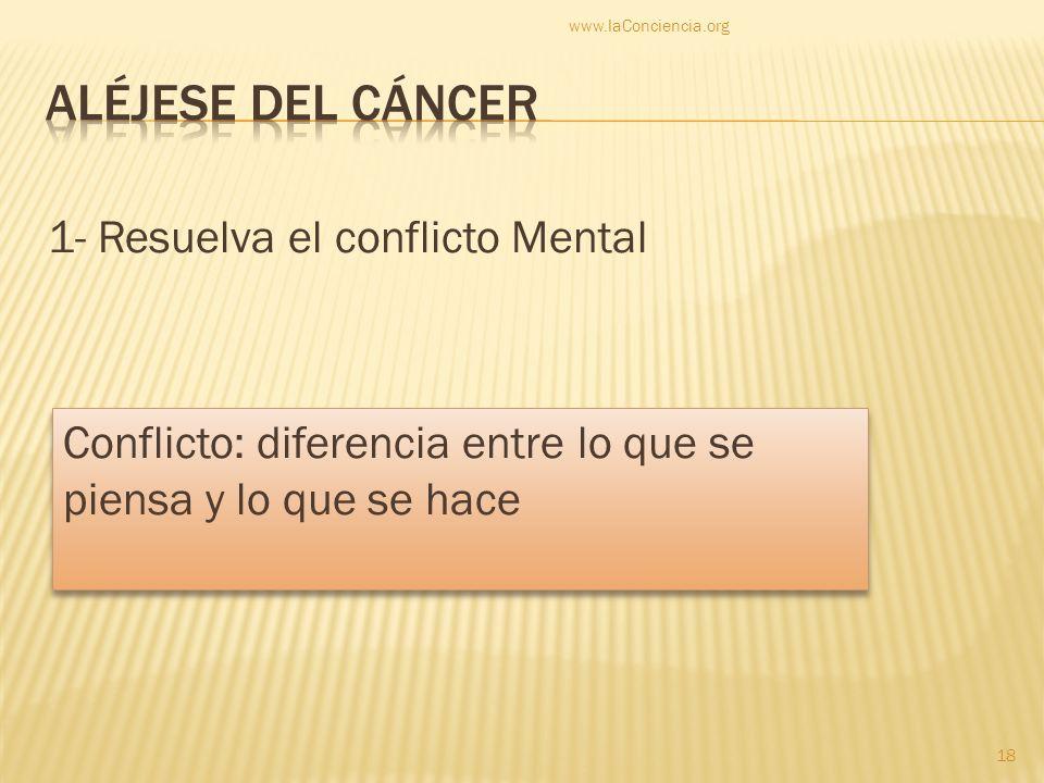 1- Resuelva el conflicto Mental www.laConciencia.org 18 Conflicto: diferencia entre lo que se piensa y lo que se hace