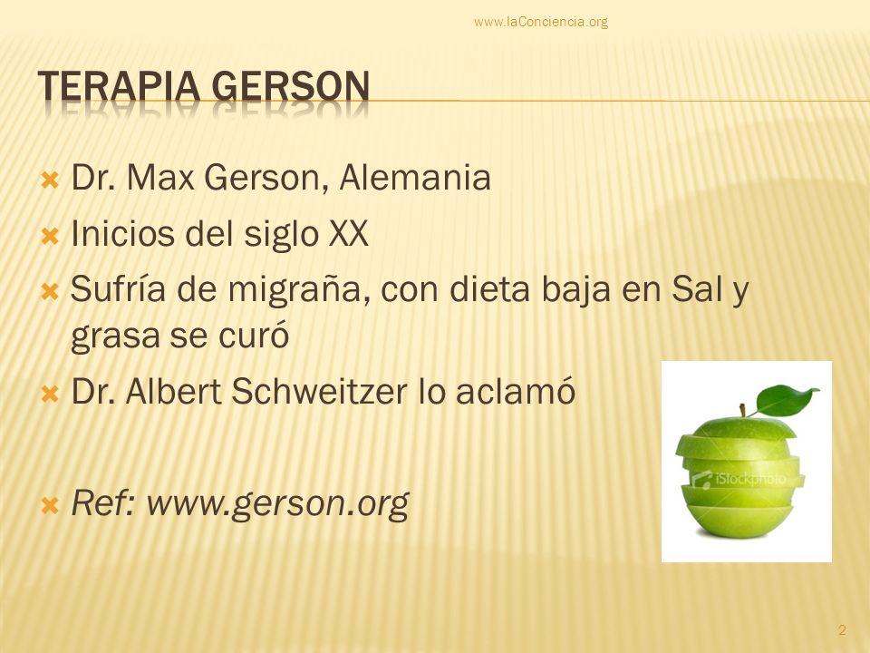 Dr. Max Gerson, Alemania Inicios del siglo XX Sufría de migraña, con dieta baja en Sal y grasa se curó Dr. Albert Schweitzer lo aclamó Ref: www.gerson