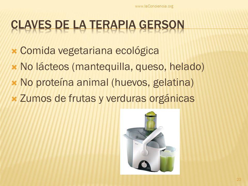 Comida vegetariana ecológica No lácteos (mantequilla, queso, helado) No proteína animal (huevos, gelatina) Zumos de frutas y verduras orgánicas www.la