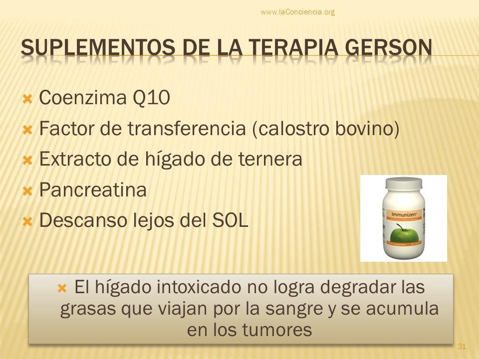 Coenzima Q10 Factor de transferencia (calostro bovino) Extracto de hígado de ternera Pancreatina Descanso lejos del SOL www.laConciencia.org 31 El híg