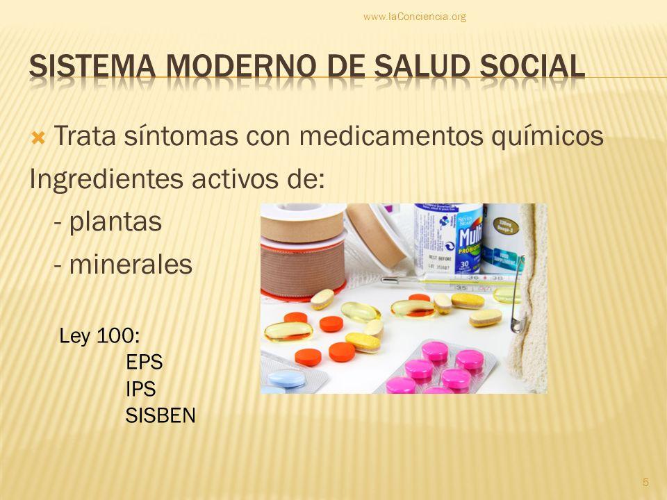 Trata síntomas con medicamentos químicos Ingredientes activos de: - plantas - minerales Ley 100: EPS IPS SISBEN www.laConciencia.org 5