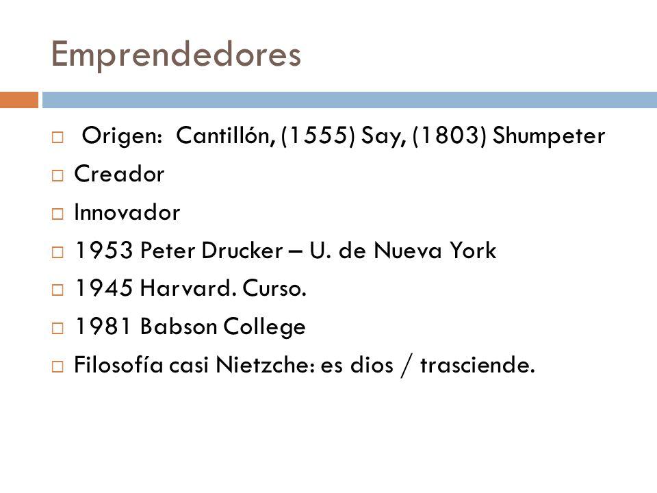Emprendedores Origen: Cantillón, (1555) Say, (1803) Shumpeter Creador Innovador 1953 Peter Drucker – U. de Nueva York 1945 Harvard. Curso. 1981 Babson