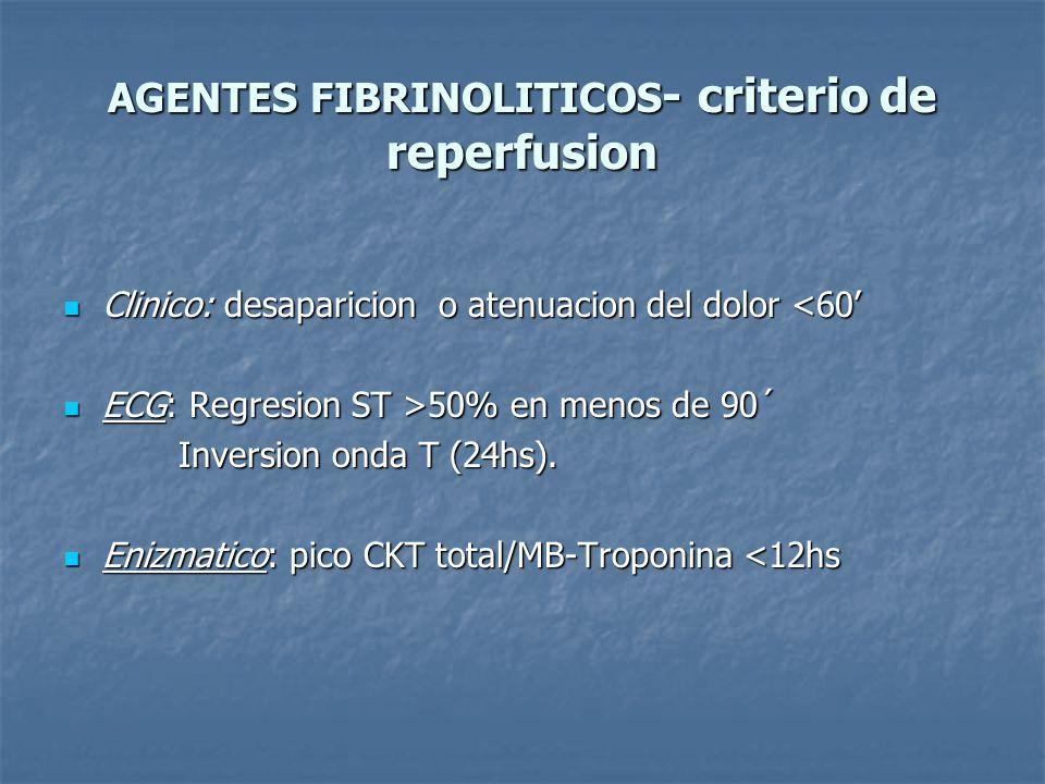 AGENTES FIBRINOLITICOS - criterio de reperfusion Clinico: desaparicion o atenuacion del dolor <60 Clinico: desaparicion o atenuacion del dolor <60 ECG