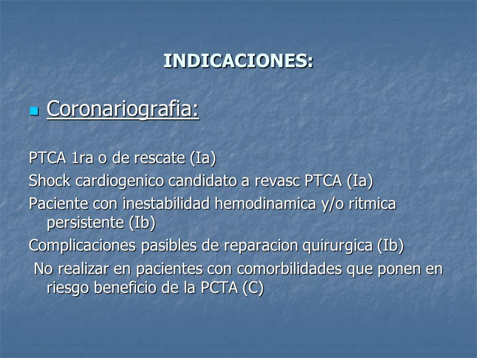 INDICACIONES: Coronariografia: Coronariografia: PTCA 1ra o de rescate (Ia) Shock cardiogenico candidato a revasc PTCA (Ia) Paciente con inestabilidad