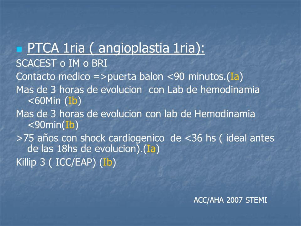 PTCA 1ria ( angioplastia 1ria): SCACEST o IM o BRI Contacto medico =>puerta balon <90 minutos.(Ia) Mas de 3 horas de evolucion con Lab de hemodinamia