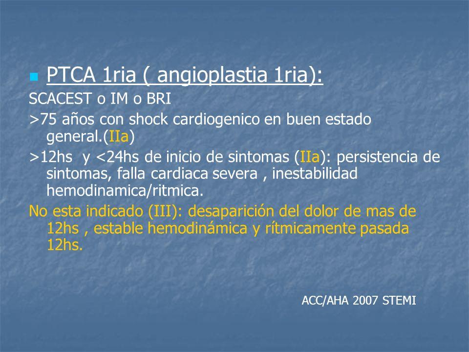PTCA 1ria ( angioplastia 1ria): SCACEST o IM o BRI >75 años con shock cardiogenico en buen estado general.(IIa) >12hs y <24hs de inicio de sintomas (I