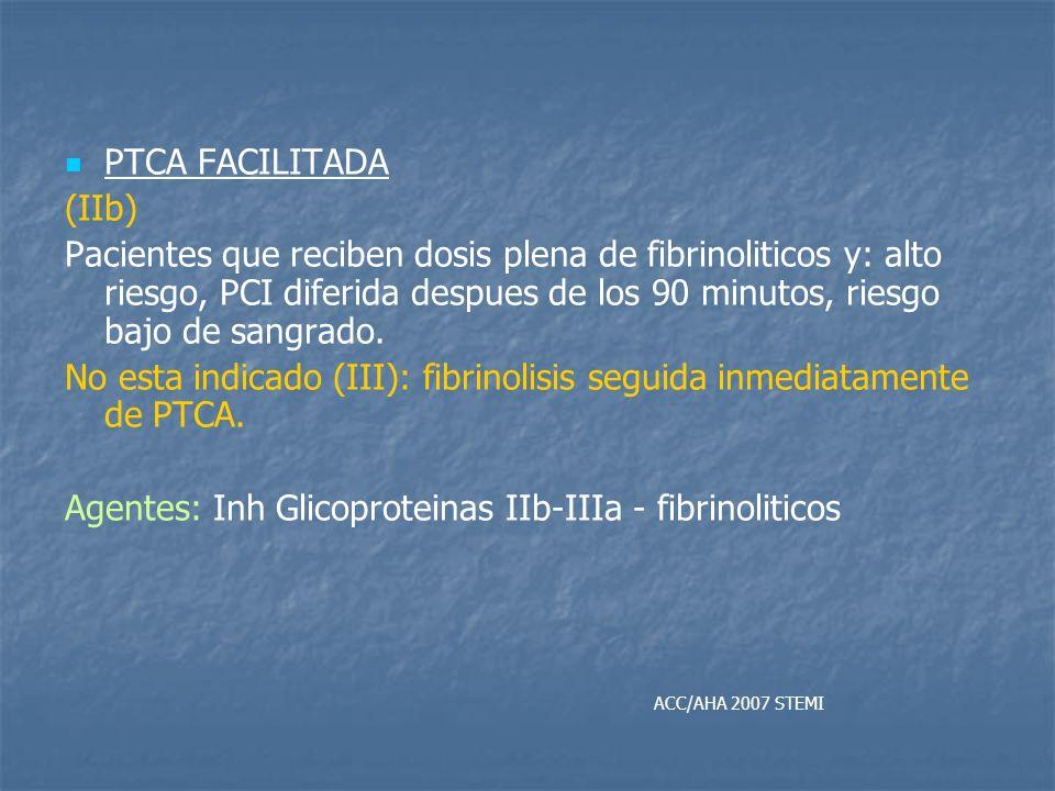 PTCA FACILITADA (IIb) Pacientes que reciben dosis plena de fibrinoliticos y: alto riesgo, PCI diferida despues de los 90 minutos, riesgo bajo de sangr