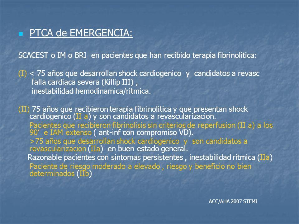 PTCA de EMERGENCIA: SCACEST o IM o BRI en pacientes que han recibido terapia fibrinolitica: (I) < 75 años que desarrollan shock cardiogenico y candida