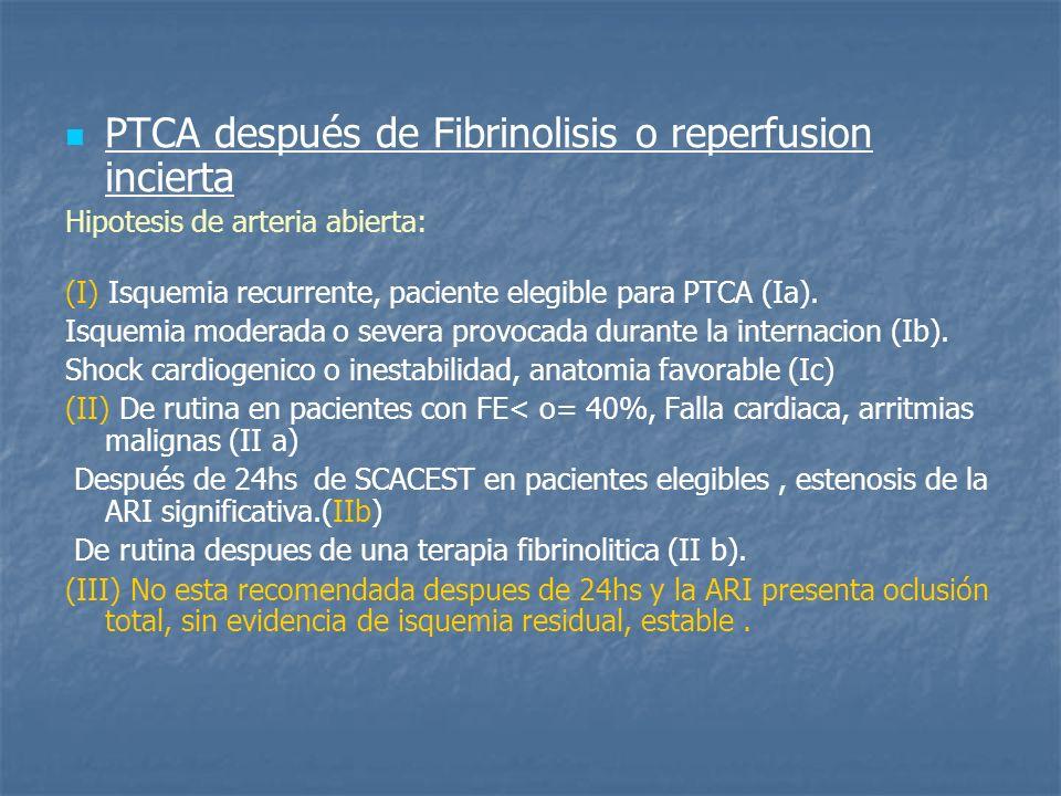 PTCA después de Fibrinolisis o reperfusion incierta Hipotesis de arteria abierta: (I) Isquemia recurrente, paciente elegible para PTCA (Ia). Isquemia