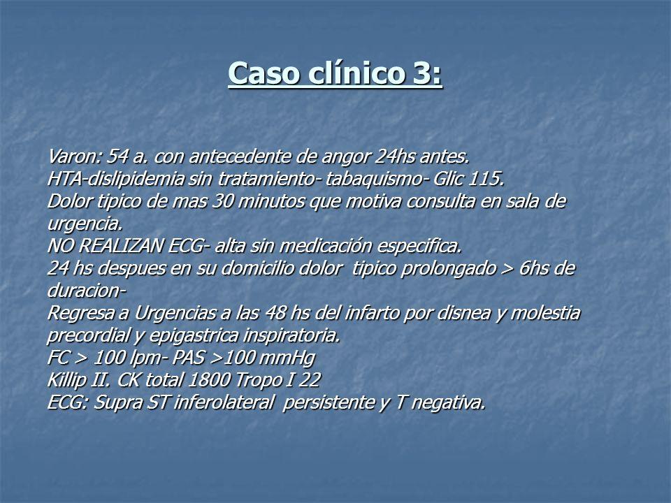 Varon: 54 a. con antecedente de angor 24hs antes. HTA-dislipidemia sin tratamiento- tabaquismo- Glic 115. Dolor tipico de mas 30 minutos que motiva co