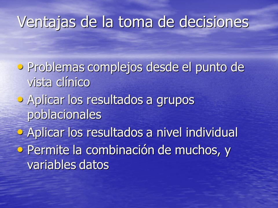 Ventajas de la toma de decisiones Problemas complejos desde el punto de vista clínico Problemas complejos desde el punto de vista clínico Aplicar los