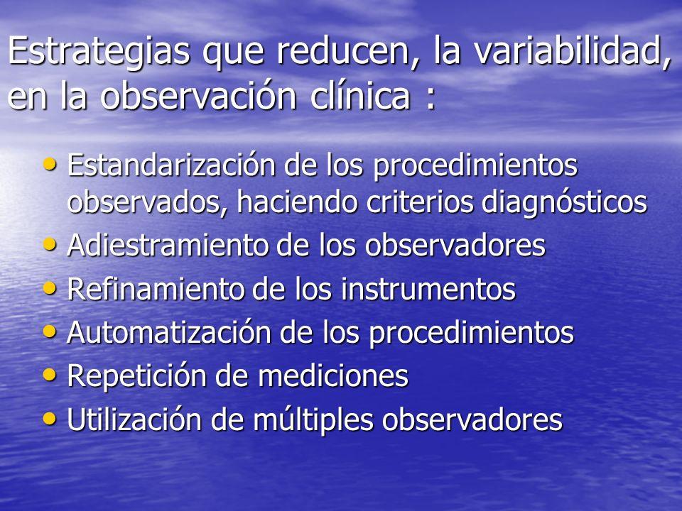 Estrategias que reducen, la variabilidad, en la observación clínica : Estandarización de los procedimientos observados, haciendo criterios diagnóstico
