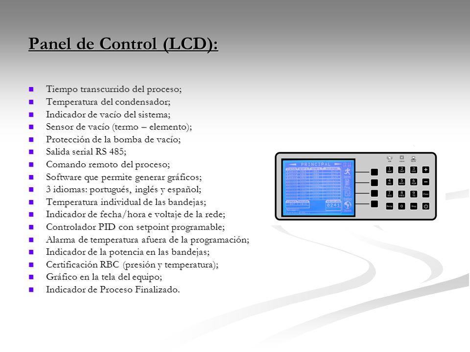 Panel de Control (LCD): Tiempo transcurrido del proceso; Tiempo transcurrido del proceso; Temperatura del condensador; Temperatura del condensador; In