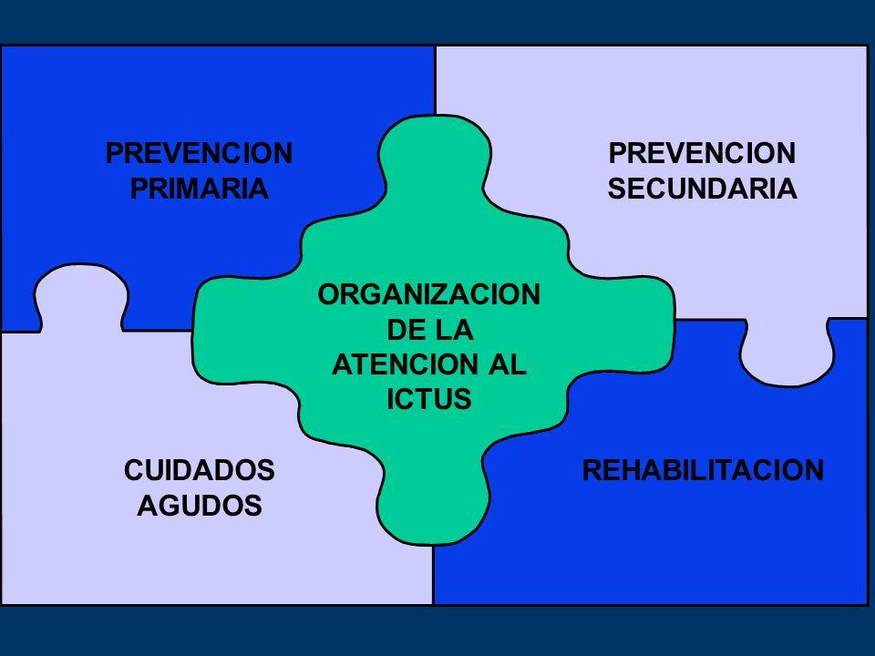 PRIMARY PREVENTION SECONDARY PREVENTION ORGANIZACION DE LA ATENCION AL ICTUS PREVENCION SECUNDARIA PREVENCION PRIMARIA CUIDADOS AGUDOS REHABILITACION