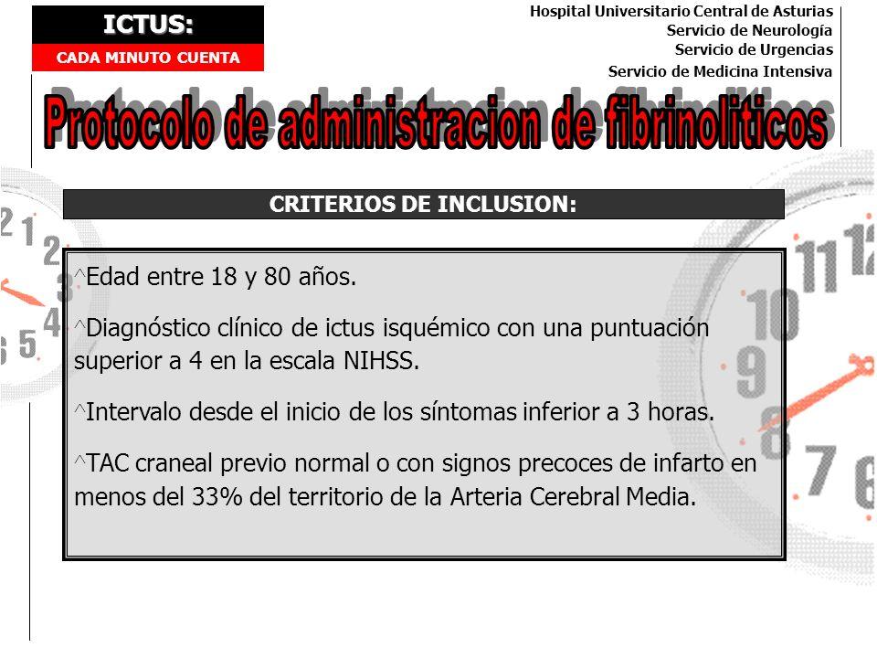 ICTUS: CADA MINUTO CUENTA Hospital Universitario Central de Asturias Servicio de Neurología Servicio de Urgencias Servicio de Medicina Intensiva CRITE