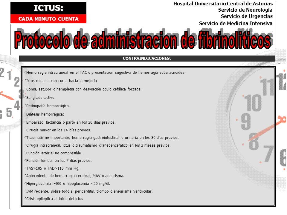ICTUS: CADA MINUTO CUENTA Hospital Universitario Central de Asturias Servicio de Neurología Servicio de Urgencias Servicio de Medicina Intensiva CONTR
