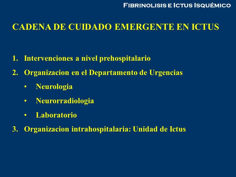 Fibrinolisis e Ictus Isquémico CADENA DE CUIDADO EMERGENTE EN ICTUS 1.Intervenciones a nivel prehospitalario 2.Organizacion en el Departamento de Urge