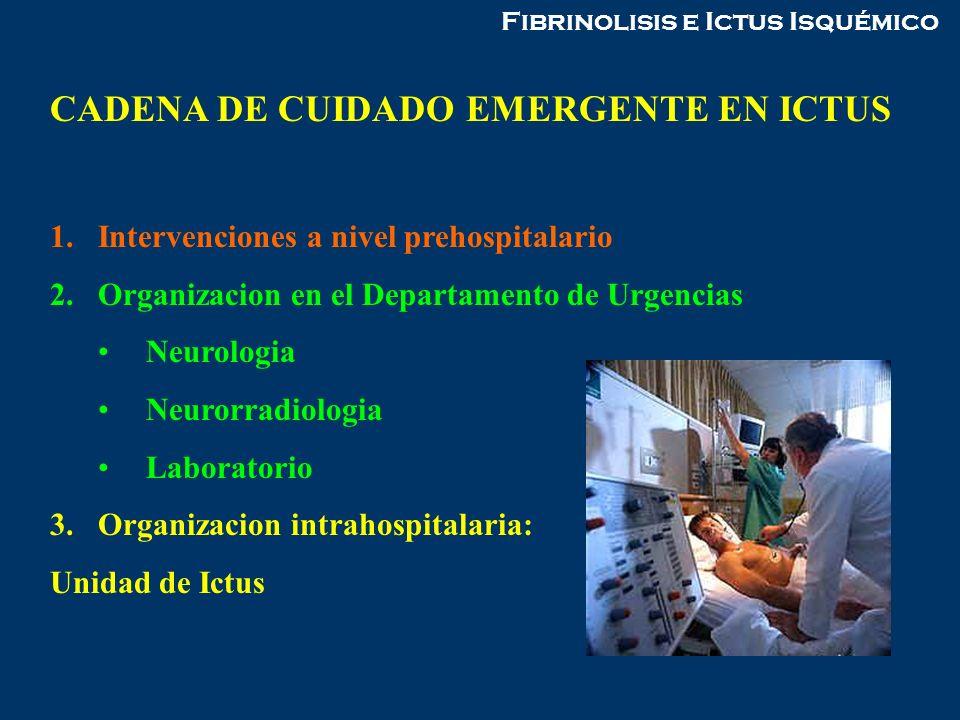 CADENA DE CUIDADO EMERGENTE EN ICTUS 1.Intervenciones a nivel prehospitalario 2.Organizacion en el Departamento de Urgencias Neurologia Neurorradiolog