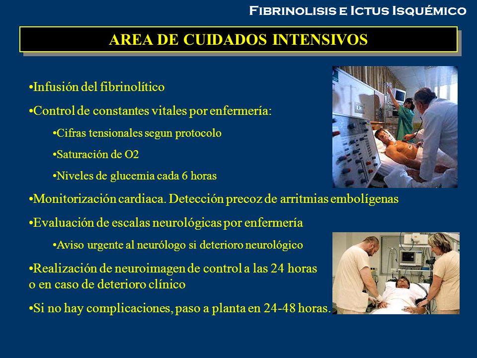 Fibrinolisis e Ictus Isquémico AREA DE CUIDADOS INTENSIVOS Infusión del fibrinolítico Control de constantes vitales por enfermería: Cifras tensionales