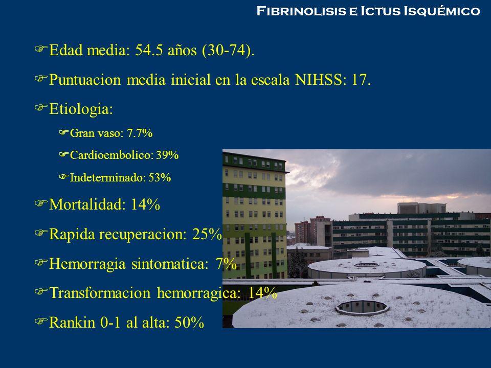 Fibrinolisis e Ictus Isquémico Edad media: 54.5 años (30-74). Puntuacion media inicial en la escala NIHSS: 17. Etiologia: Gran vaso: 7.7% Cardioemboli