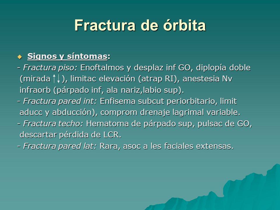 Fractura de órbita Signos y síntomas: Signos y síntomas: - Fractura piso: Enoftalmos y desplaz inf GO, diplopía doble (mirada ), limitac elevación (at