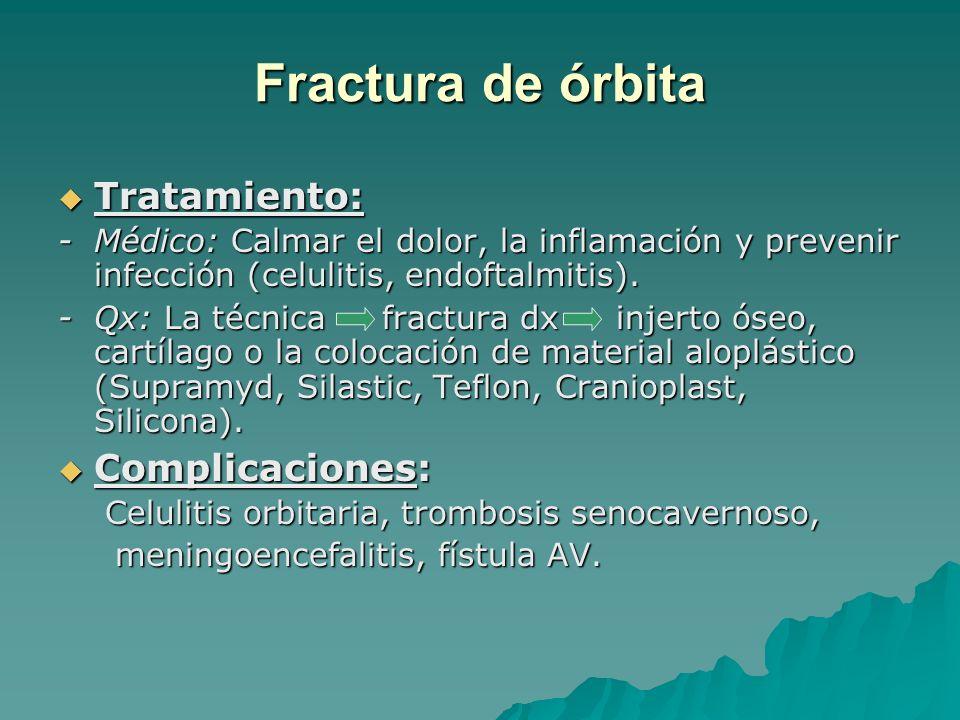 Tratamiento: Tratamiento: -Médico: Calmar el dolor, la inflamación y prevenir infección (celulitis, endoftalmitis). -Qx: La técnica fractura dx injert