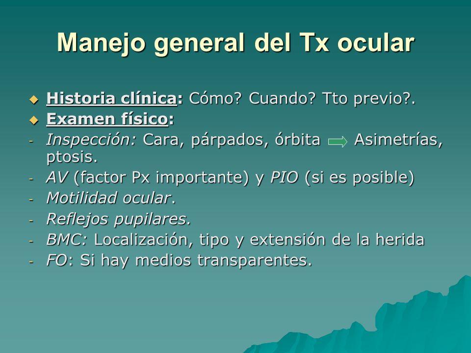 Manejo del Tx abierto Trauma abierto (penetrante, perforante) Trauma abierto (penetrante, perforante) 1) Colocación cono protector.