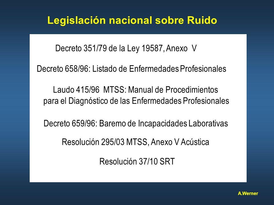 Legislación nacional sobre Ruido Decreto 351/79 de la Ley 19587, Anexo V Resolución 295/03 MTSS, Anexo V Acústica Decreto 658/96: Listado de Enfermeda