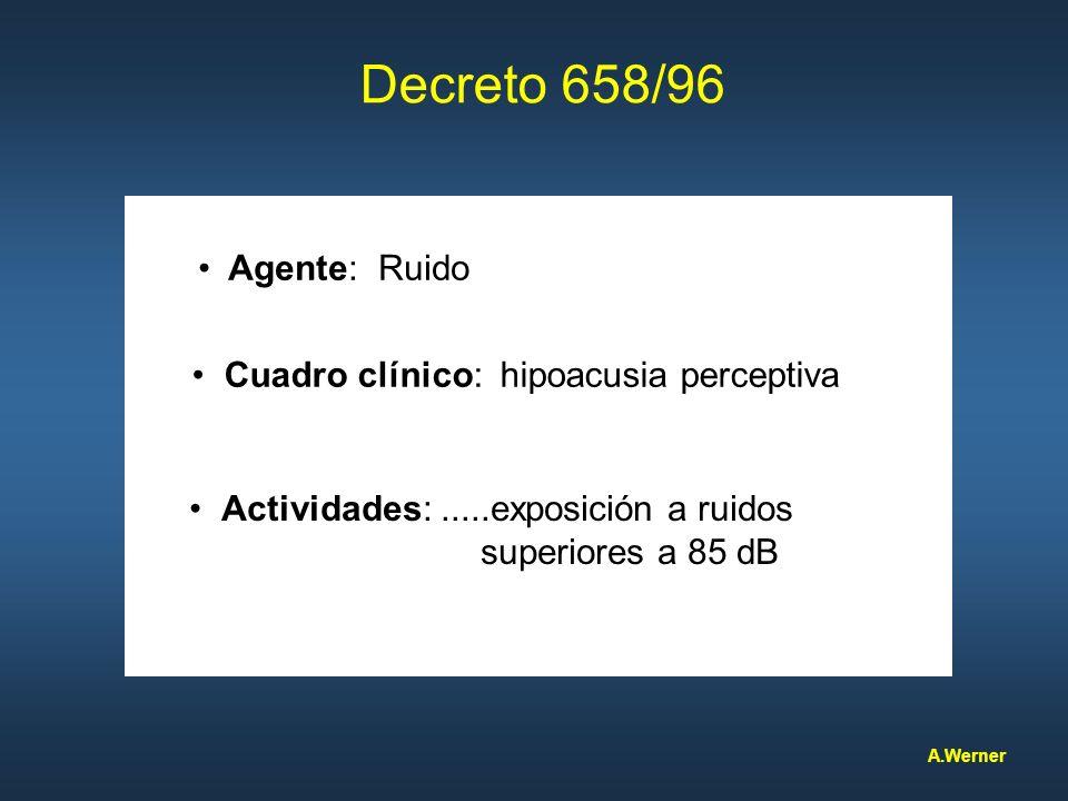 Decreto 658/96 Agente: Ruido Cuadro clínico: hipoacusia perceptiva Actividades:.....exposición a ruidos superiores a 85 dB A.Werner