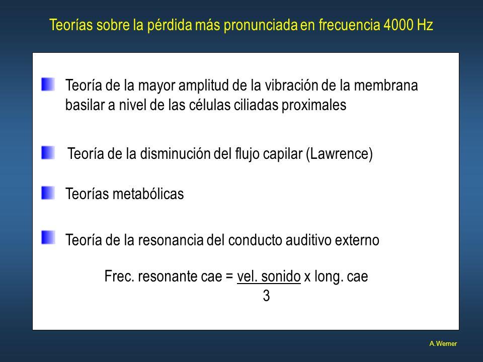 Teorías sobre la pérdida más pronunciada en frecuencia 4000 Hz A.Werner Teoría de la resonancia del conducto auditivo externo Frec. resonante cae = ve