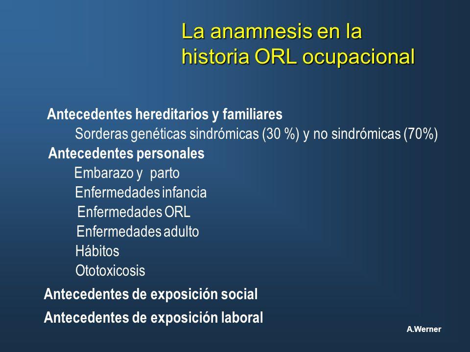 La anamnesis en la historia ORL ocupacional Antecedentes hereditarios y familiares Sorderas genéticas sindrómicas (30 %) y no sindrómicas (70%) Embara