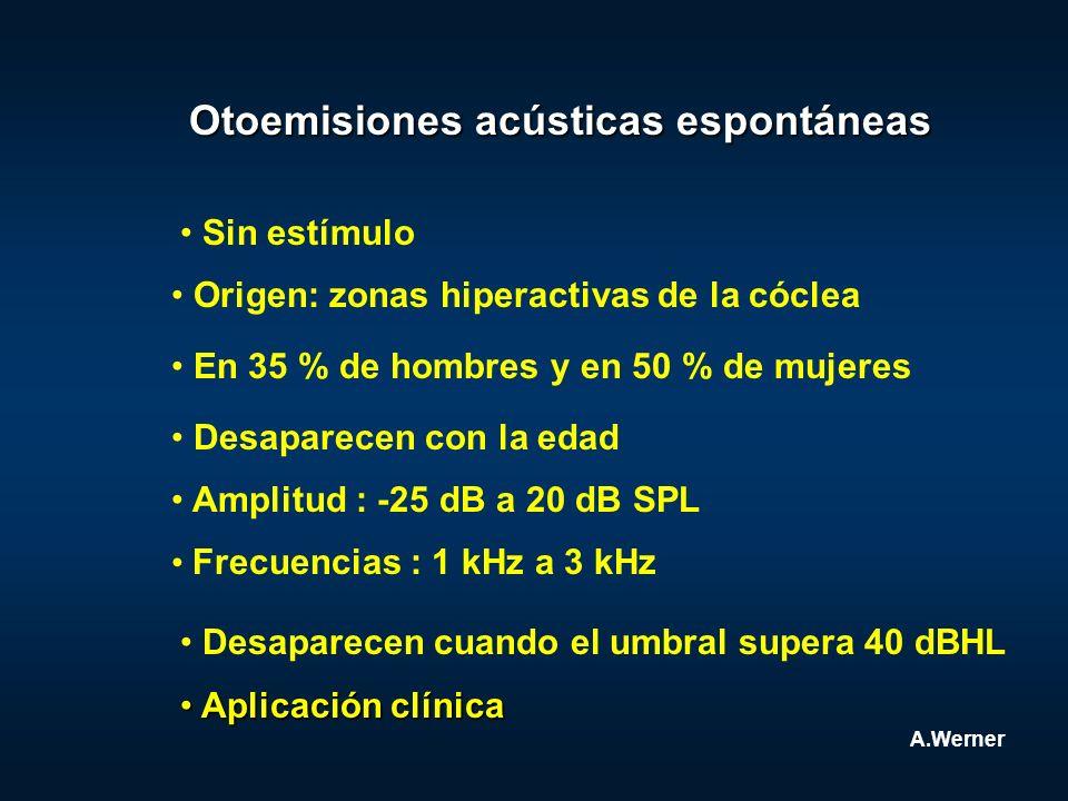 Otoemisiones acústicas espontáneas Aplicación clínica Aplicación clínica A.Werner Sin estímulo Origen: zonas hiperactivas de la cóclea En 35 % de homb