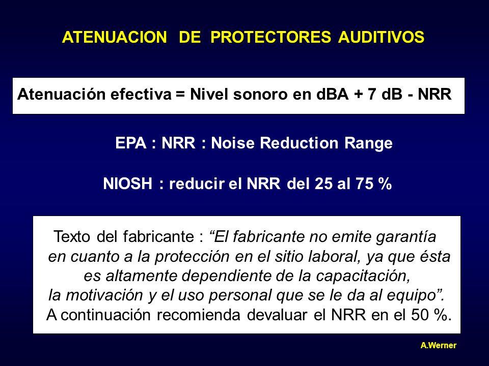 ATENUACION DE PROTECTORES AUDITIVOS Atenuación efectiva = Nivel sonoro en dBA + 7 dB - NRR EPA : NRR : Noise Reduction Range NIOSH : reducir el NRR de