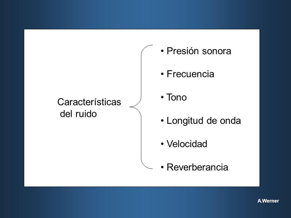 Manual de procedimiento para el diagnóstico de las enfermedades profesionales (LRT) Criterios para el diagnóstico de la hipoacusia inducida por ruido Comité de Ruido y Conservación de la Audición del American College of Occupational Medicine (1989 ) Es siempre una hipoacusia neurosensorial que afecta las células del órgano de Corti Es casi siempre bilateral con patrones audiométricos similares para ambos oídos Raramente produce pérdida auditiva profunda (usualmente los límites para las pérdidas de baja frecuencia están alrededor de 40 dB, y en frecuencias altas, 75 dB) Interrumpida la exposición, no hay progresión significativa en la pérdida auditiva resultante de exposición al ruido A.Werner