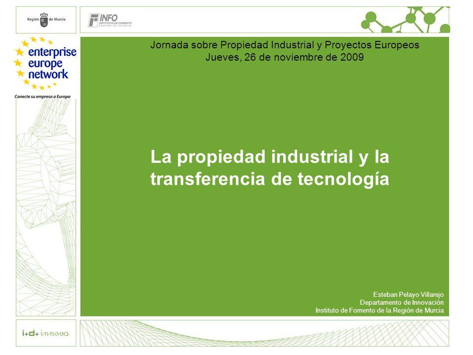 La propiedad industrial y la transferencia de tecnología Esteban Pelayo Villarejo Departamento de Innovación Instituto de Fomento de la Región de Murc