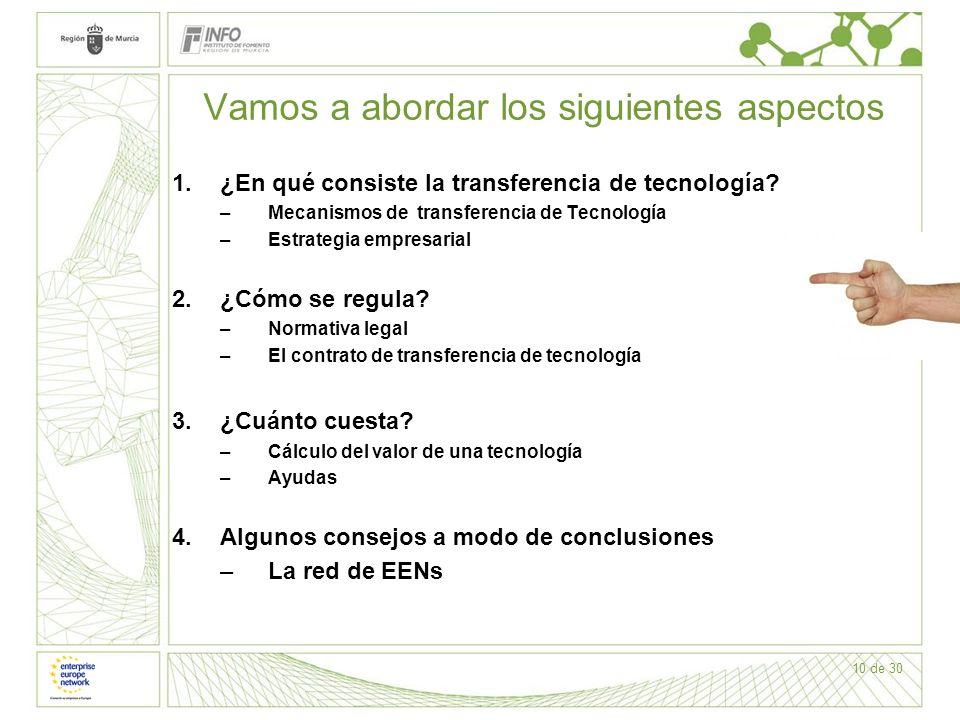 10 de 30 Vamos a abordar los siguientes aspectos 1.¿En qué consiste la transferencia de tecnología? –Mecanismos de transferencia de Tecnología –Estrat