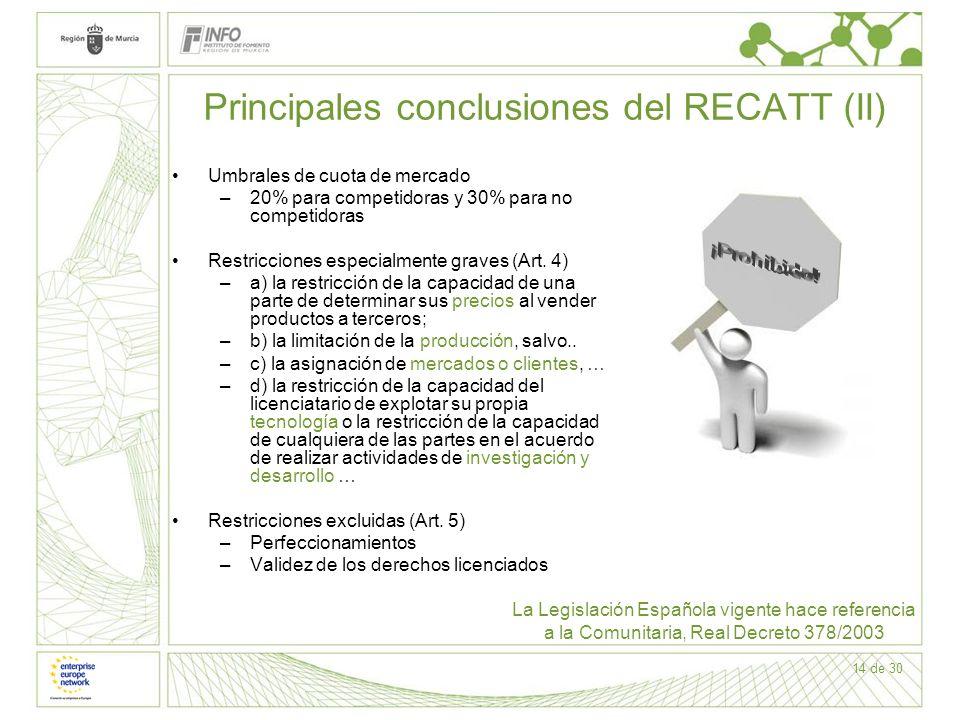 14 de 30 Principales conclusiones del RECATT (II) Umbrales de cuota de mercado –20% para competidoras y 30% para no competidoras Restricciones especia