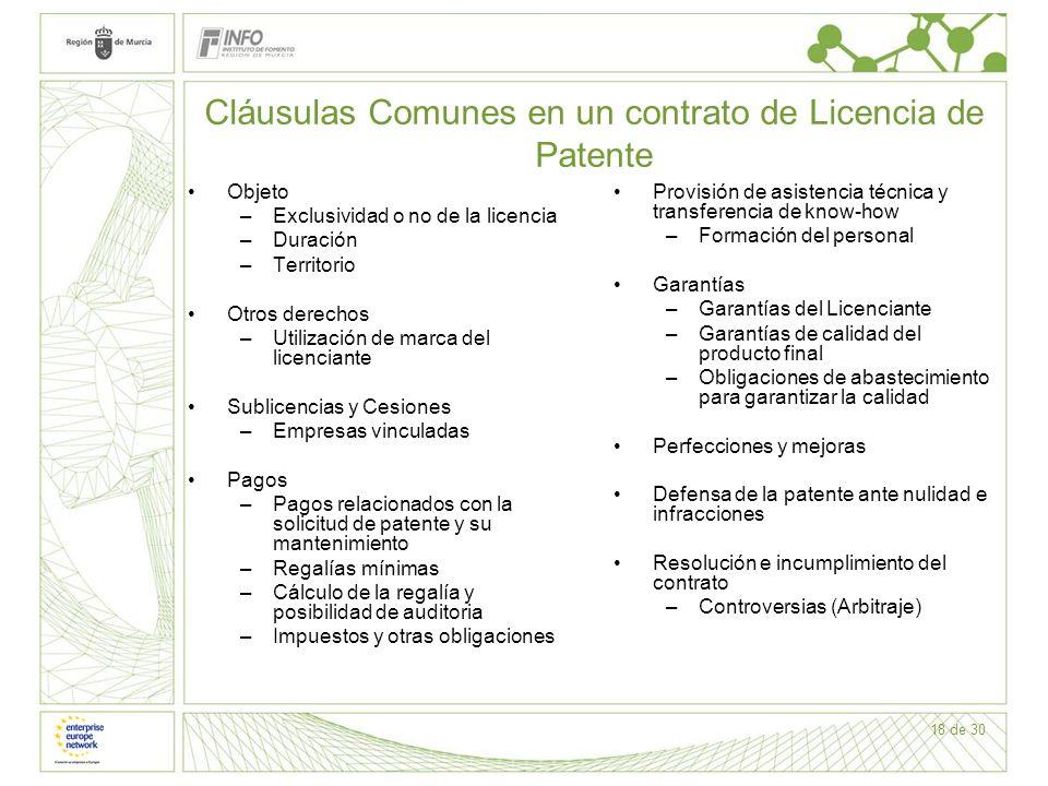 18 de 30 Cláusulas Comunes en un contrato de Licencia de Patente Objeto –Exclusividad o no de la licencia –Duración –Territorio Otros derechos –Utiliz