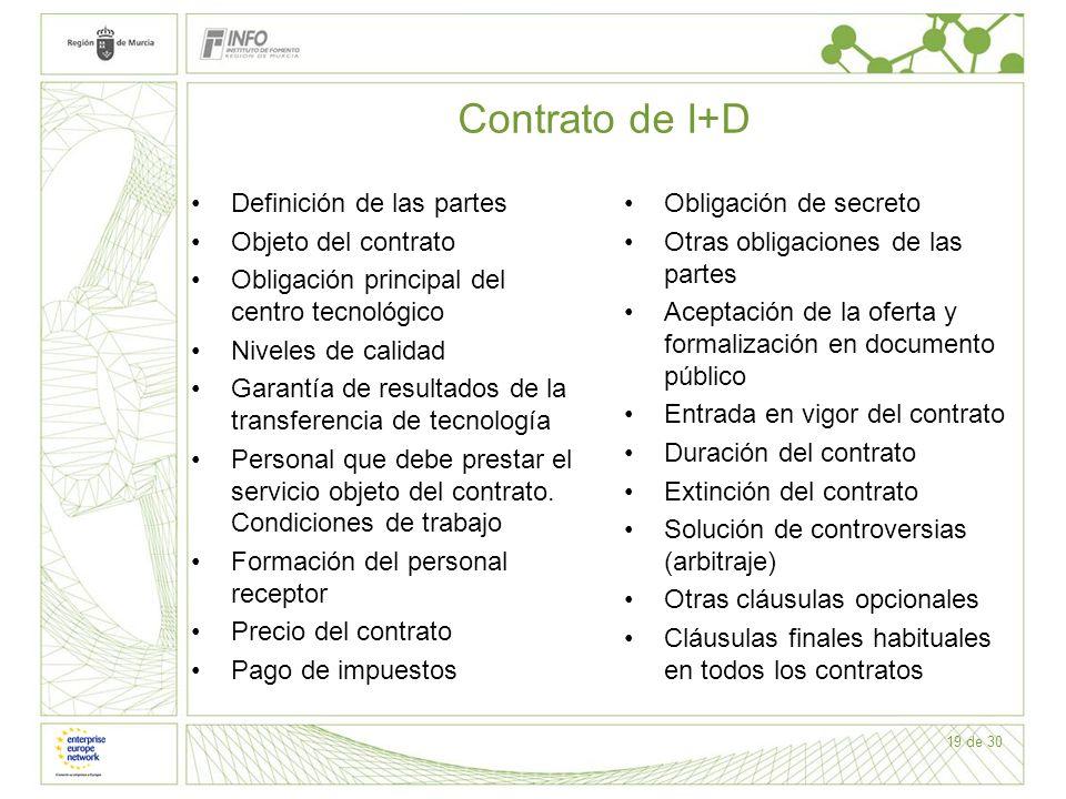 19 de 30 Contrato de I+D Definición de las partes Objeto del contrato Obligación principal del centro tecnológico Niveles de calidad Garantía de resul